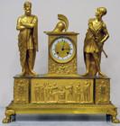 """Арт-студия """"Кентавр"""" - Старинные каминные часы в стиле ампир с фигурами воина и философа №010050"""