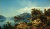 """Арт-студия """"Кентавр"""" - Флам Альберт (1823-1906) - """"Пейзаж с озером"""" 1848 г. №010102"""