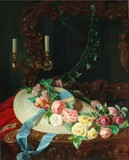 """Арт-студия """"Кентавр"""" - Мартин-Схот Франсиана Луиза (1816-1894) - """"Натюрморт с розами и соломенной шляпкой"""" №010344"""