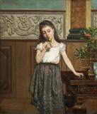 """Арт-студия """"Кентавр"""" - Морманс Франс (1831-1893) - """"Девочка с попугайчиком"""" №010391"""