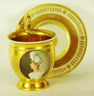 """Арт-студия """"Кентавр"""" - Чайная пара с женским портретом в медальоне в стиле ампир. №010561"""