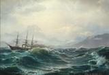 "Арт-студия ""Кентавр"" - Серенсен Карл (1818-1879) - ""Пароход в бурном море"" 1871г №010597"