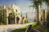 """Арт-студия """"Кентавр"""" - Шумахер Харальд (1836-1912) - """"Итальянский пейзаж с домом на побережье"""" №010857"""