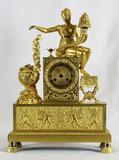 """Арт-студия """"Кентавр"""" - Cтаринные каминные часы с боем в стиле ампир """"Богиня плодородия Деметра с рогом изобилия"""" №010862"""