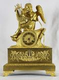 """Арт-студия """"Кентавр"""" - Cтаринные каминные часы с боем """"Игра на арфе"""" 1800-е годы. №010912"""