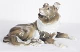 """Арт-студия """"Кентавр"""" - Фарфоровая статуэтка собаки породы Колли №010915"""