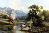 """Арт-студия """"Кентавр"""" - Холдер Эдвард Генри (1847-1922) - """"Пейзаж со стадом у реки"""" 1884г №010987"""