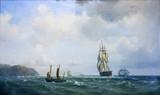 """Арт-студия """"Кентавр"""" - Мельби Вильгельм (1824-1882) - """"Парусники в море"""" 1856 г №011046"""
