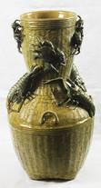 """Арт-студия """"Кентавр"""" - Большая фаянсовая ваза, стилизованная под плетеную корзину №011102"""