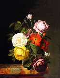 "Арт-студия ""Кентавр"" - Ф.Б. де Монтавиль де Лаван - ""Букет роз и бабочка"" 1825 г №011227"