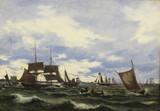 """Арт-студия """"Кентавр"""" - Мельби Даниэл Герман Антон (1818-1875) - """"Корабли в беспокойном море"""" 1852 г  №011234"""