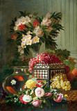 """Арт-студия """"Кентавр"""" - Мари де Биевр (1865-1940) - """"Натюрморт с цветами, фруктами и красными рыбками в аквариуме"""" №011340"""