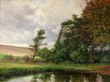 """Арт-студия """"Кентавр"""" - Броге Альфред (1870-1955) - """"Осенний пейзаж с прудом"""" 1929г №011345"""