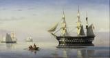 "Арт-студия ""Кентавр"" - Блахе Христиан (1838-1920) - ""Датский фрегат и другие суда, стоящие на якоре в Эресунне"" №011634"