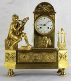 """Арт-студия """"Кентавр"""" - Старинные часы с боем в стиле ампир с фигурой музыканта-арфиста. №011680"""