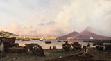 """Арт-студия """"Кентавр"""" - Нерли Фридрих Пауль (1842-1919) - """"Вид на Неаполитанский залив и Везувий"""" №011777"""