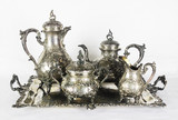"""Арт-студия """"Кентавр"""" - Старинный серебряный чайно-кофейный сервиз с подносом в стиле рококо №011948"""