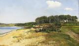 """Арт-студия """"Кентавр"""" -  Янус Андреас ла Кур (1837-1909) - """"Берёзовая роща у реки"""" 1878 г №011968"""