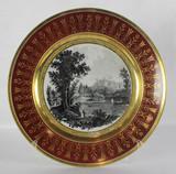 """Арт-студия """"Кентавр"""" - Старинная фарфоровая тарелка с видом Санкт-Петербурга ( Гатчинского дворца ) №012102"""