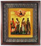 """Арт-студия """"Кентавр"""" - Старинная икона """"Георгий Победоносец святой великомученик, святой Василий Великий, святой апостол Иаков, святая преподобномученица Феодосия"""" №012629"""