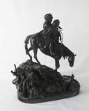 """Арт-студия """"Кентавр"""" - Бронзовая скульптура """" Черкес с молодой черкешенкой, спускающиеся с гор верхом на лошади """" №012825"""