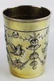 """Арт-студия """"Кентавр"""" - Серебряный стакан с изображением птиц и цветочных гирлянд №012861"""