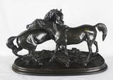 """Арт-студия """"Кентавр"""" - Бронзовая кабинетная скульптура """"Играющие лошади Ташиани и Неджиб"""" №012866"""