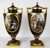 """Арт-студия """"Кентавр"""" - Дворцовые старинные парные вазы с античными сценами №012872"""