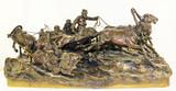 """Арт-студия """"Кентавр"""" - Скульптура бронзовая """"Ямщицкая тройка, столкнувшая на обочину мужицкие розвальни на зимней дороге"""" №013176"""