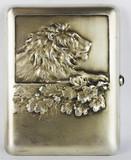 """Арт-студия """"Кентавр"""" - Старинный серебряный портсигар с изображением льва №013326"""
