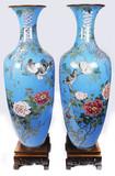 """Арт-студия """"Кентавр"""" - Антикварные парные вазы с изображением птиц и цветов в технике клуазоне №013431"""
