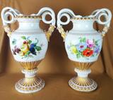 """Арт-студия """"Кентавр"""" - Большие парные антикварные вазы с изображением цветов и фруктов №013649"""