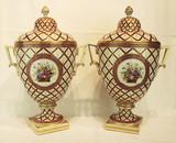 """Арт-студия """"Кентавр"""" - Парные фарфоровые вазы с изображением цветов.  №013770"""
