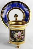 """Арт-студия """"Кентавр"""" - Чайная пара большая на трех львиных лапах «Букет в корзине» №013817"""