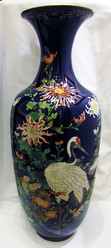 """Арт-студия """"Кентавр"""" - Напольная ваза с изображением птиц и цветов в технике клуазоне №013843"""