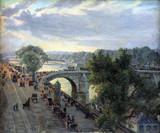"""Арт-студия """"Кентавр"""" - Антикварная картина Париж. """"Вид с моста Руаяль в Париже""""  №013968"""
