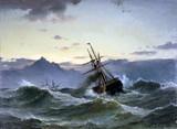 """Арт-студия """"Кентавр"""" - """"Морской пейзаж с кораблем в шторм"""" №014076"""