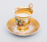 """Арт-студия """"Кентавр"""" - Чайная пара в стиле ампир с золочением и изображением букета №014232"""