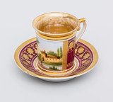 """Арт-студия """"Кентавр"""" - Чайная пара с изображением пейзажа и золоченым орнаментом №014236"""