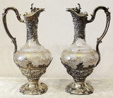 """Арт-студия """"Кентавр"""" - Серебряные парные графины с изображением Бахуса (Вакха) №014380"""