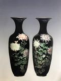 """Арт-студия """"Кентавр"""" - Большие антикварные парные вазы в технике клуазоне №014400"""