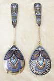 """Арт-студия """"Кентавр"""" - Набор из двух серебряных ложек с перегородчатой эмалью  №014429"""