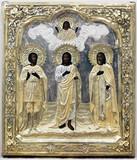 """Арт-студия """"Кентавр"""" - Антикварная икона """"Святой мученик Никита, Иоанн Креститель, святой Сергий"""" №014443"""