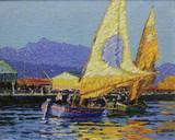 """Арт-студия """"Кентавр"""" - """"Средиземноморский пейзаж с двумя парусными лодками"""" №014494"""