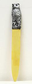 """Арт-студия """"Кентавр"""" - Костяной нож для бумаги с серебряной рукоятью в виде совы №014753"""