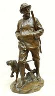 """Арт-студия """"Кентавр"""" - Антикварная бронзовая скульптура """"Охотник с собакой"""" №014779"""