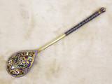 """Арт-студия """"Кентавр"""" - Антикварная серебряная ложка с разноцветной эмалью №014925"""