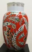 """Арт-студия """"Кентавр"""" - Большая фарфоровая ваза с красными цветами №015016"""