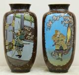 """Арт-студия """"Кентавр"""" - Парные вазы с картушами с изображением самураев, воробьёв и цветов №015068"""