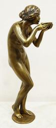 """Арт-студия """"Кентавр"""" - Бронзовая скульптура в стиле ар-деко """"Девушка, пьющая из чаши"""" №015071"""
